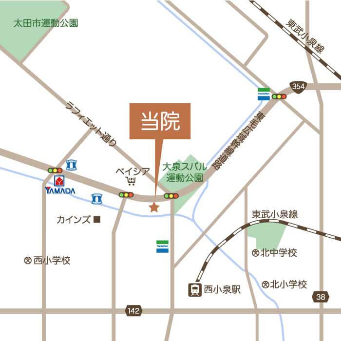 太田大泉クリア歯科のアクセスマップ